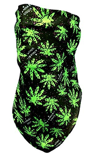 Adjustable Green and Black Marijuana Leaf Face Mask Cotton Bandana Neck Cover Reversible Stoner Weed 420 Happy Hippy Cannabis Costume Disguise Blunt -
