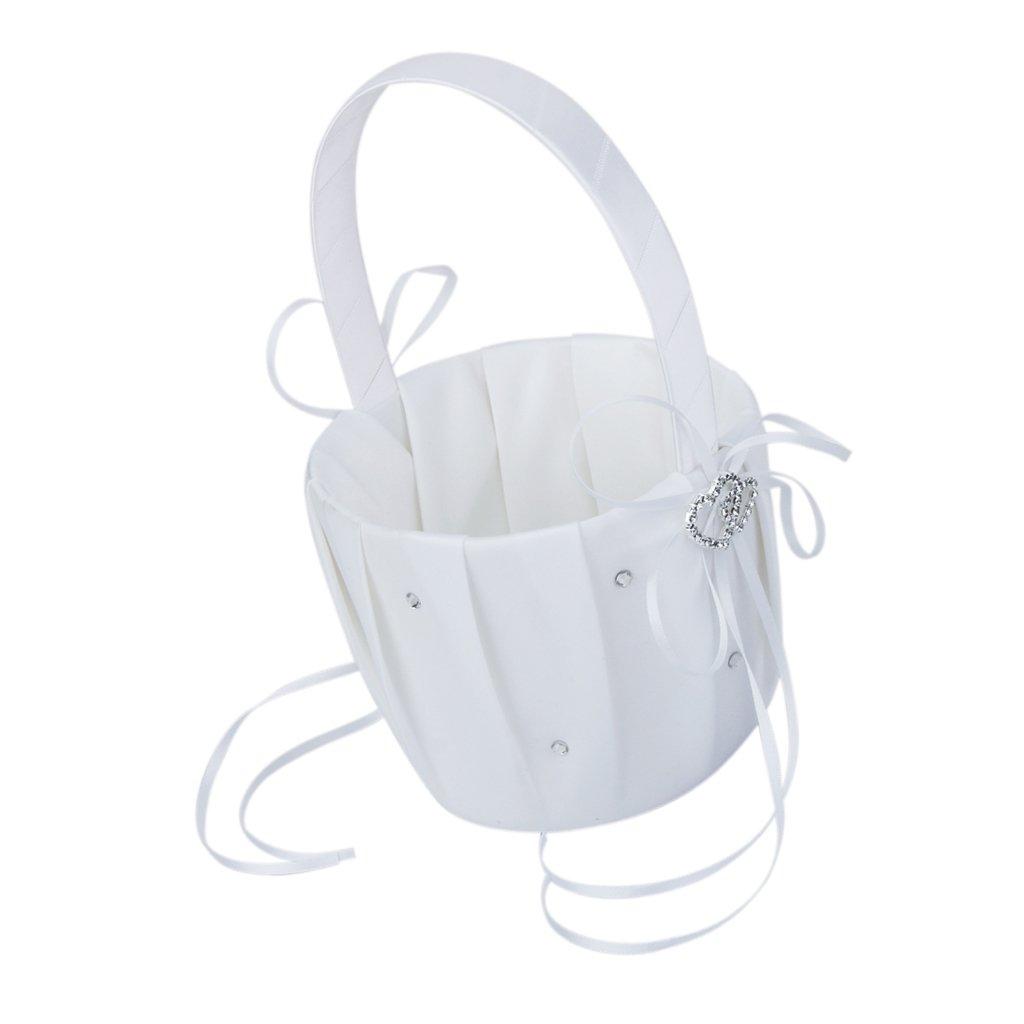 Double Heart Wedding Flower Girl Basket w/Rhinestone Decor Satin--White Generic BHBA696