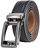 Marino Men's Genuine Leather Ratchet Dress Belt with Open Linxx Buckle, Enclosed in an Elegant Gift Box - Gunblack Silver Square Open Buckle W/Black Leather - Adjustable from 38' to 54' Waist