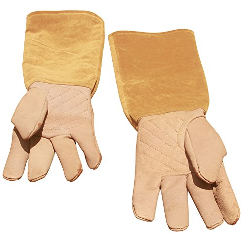 Leather Rose Pruning Gardening Gloves Puncture Resistant Work Gloves Rose Gloves Best for Gardener Orchardist Farmer Owner Men Women HCT05-US (M, Khaki) by Hense (Image #8)