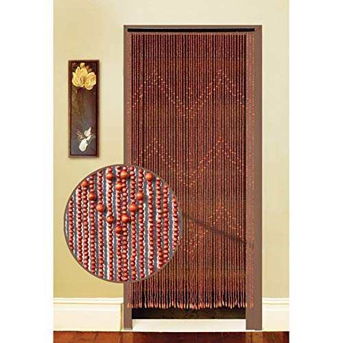 GuoWei Beaded Curtains Wood Strings Room Divider for Doorway Bedroom Decoration Wall Window Panel Retro Customizable (Color : A, Size : 52 Strings-0.85x1.98m)