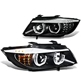 For BMW E90 3-Series Pair of 3D Crystal Halo Projector Black Housing Amber LED Corner Headlights