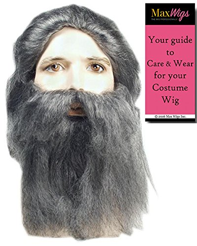 [Bundle 2 items: Coal Miner Wig and Beard Prospector Set Santa Grumpy Troll Recluse Halloween Hermit by Lacey Costume Costume Wigs,Grey, MaxWigs Costume Wig Care Guide] (Synthetic Santa Costumes Beard And Wig Set)