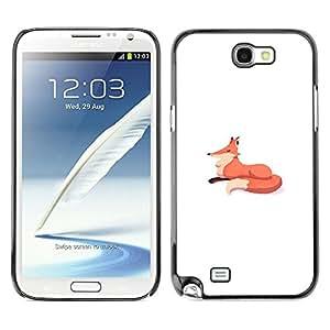 Be Good Phone Accessory // Dura Cáscara cubierta Protectora Caso Carcasa Funda de Protección para Samsung Note 2 N7100 // fox minimalist drawing kids white orange