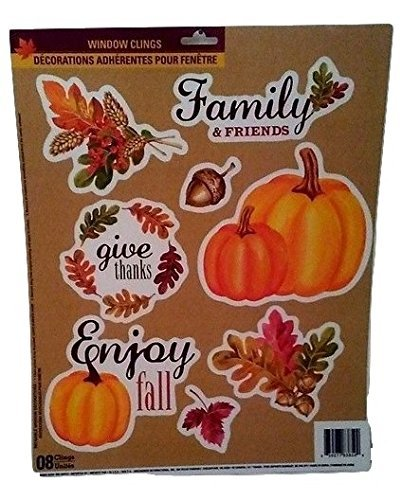 [Autumn Fall Thanksgiving Harvest Pumpkin Leaves Decorations Window Cling Stickers Family] (Captain America First Avenger Halloween Costume)