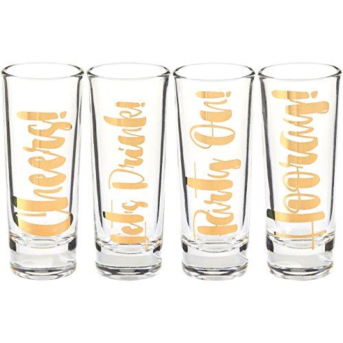 Tall Glass Shot Set (Party Favors Shot Glassess - Shot Glasses Gift Set, Party on, Let's Drink, Cheers, and Hooray Gold Foil Prints for Bachelorette, Bridal Showers, Girls Night Out- Set of 4, 2 oz Each)