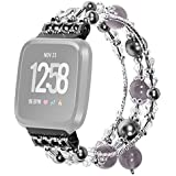 Lyperkin Compatible with Fitbit Versa/Versa Lite Bands, Luxury Crystal Three Beads Round Beads Strap Bracelet Replacement Wristband Accessories Compatible with Fitbit Versa/Versa Lite Smart Watch S-35