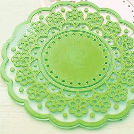 rose BESTONZON 4pcs motif de dentelle creuse translucide mignon anti-d/érapant isol/é tasse en silicone dessous de verre tapis protecteurs