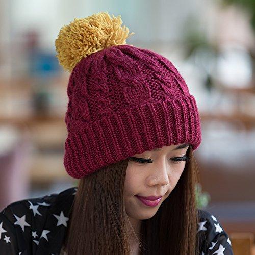 Coreana de Moda Sombrero del Coreana Flanger Punto Sombrero Versión otoño Yellow Bromista Sombrero Maozi Lana WINERED de del Punto a Damas para Invierno n085U6w