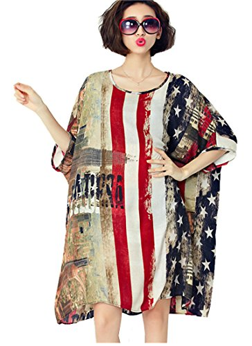 American-Flag-Loose-Sundress-Plus-Size-Swimsuit-Cover-Up-Dress-T-Shirt-for-Women