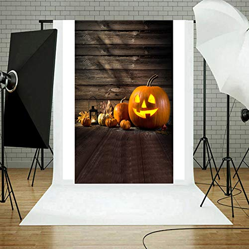 AutumnFall 90x150cm Halloween Backdrop Grimace Pumpkins Lantern Dreamy Forest Party Decor Photography Background for Picture Kids Portrait Photo Booth Shoot Vinyl Fabric Photocall Studio Prop (M)