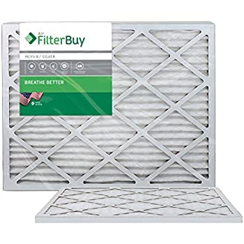 FilterBuy 25x25x1 MERV 8 Pleated AC Furnace Air Filter, (Pack of 2 Filters), 25x25x1 - Silver