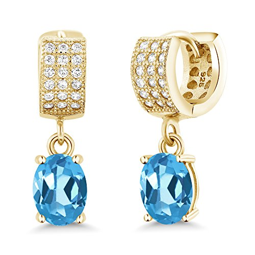 Gem Stone King 3.67 Ct Oval Swiss Blue Topaz 18K Yellow Gold Plated Silver Earrings
