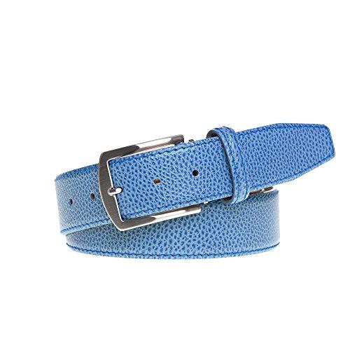 Cobalt Italian Pebble Leather Belt by Roger Ximenez: Bespoke Maker of Fine Leather Goods