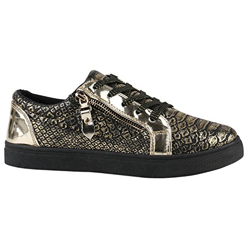 3cde8d0bc10e49 Damen Sneaker Low Basic Sneakers Lack Metallic Turnschuhe Glitzer Schuhe  Snake Sportschuhe Leder-Optik Denim