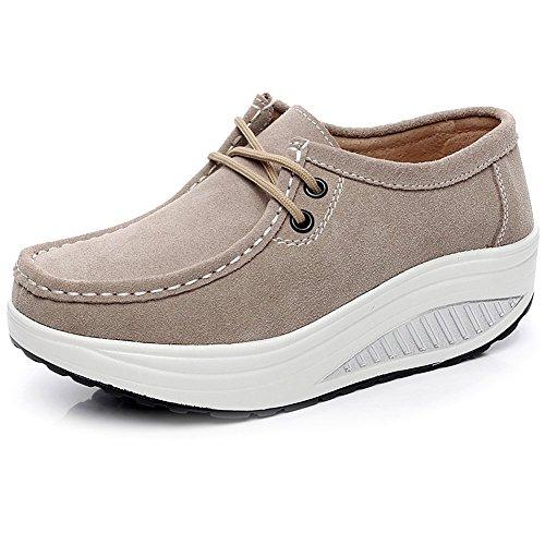 Shenn-Mujer-Plataforma-Calzo-Aptitud-Para-Caminar-Ante-Cuero-Entrenadores-Zapatos-1061