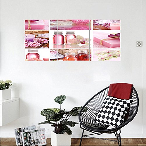 Liguo88 Custom canvas Spa Decor Flowers Pink Gift Wraps Tiny Scent Bottles and Candles Image Collage Wall Hanging for Bedroom Living Room Lillium Pink and White - Lexan Bottle Cool