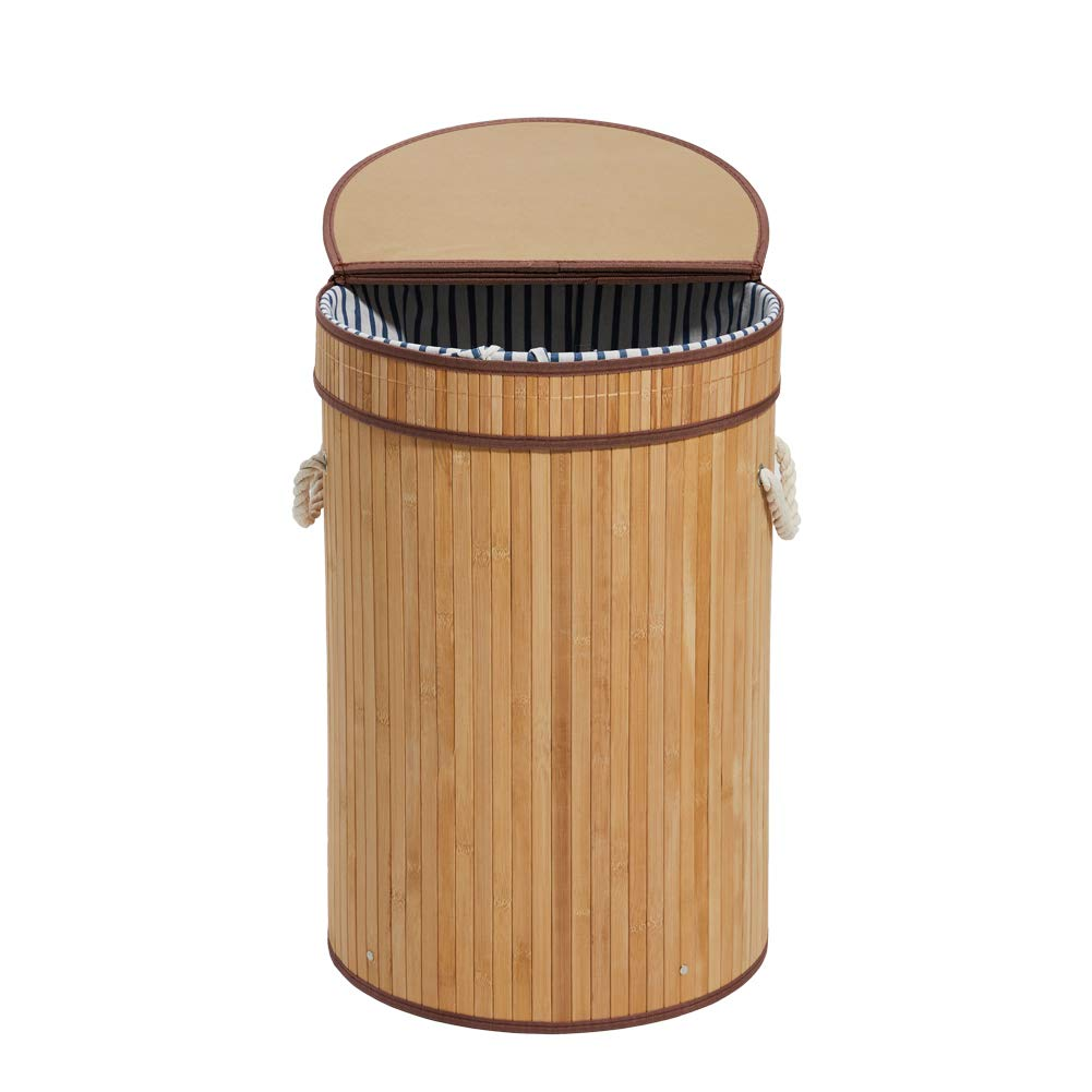 HanShoo Bamboo Laundry Hamper Laundry Basket with Lid 100L Dirty Clothes Storage Baskets Foldable Round(XL) by HanShoo
