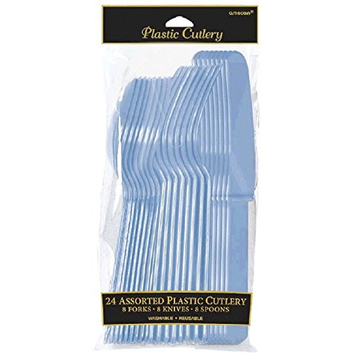 (Amscan Pastel Blue Plastic Assorted Cutlery, 24 Ct. | Party Tableware )