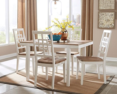 Ashley Furniture Signature Design - Brovada Rectangular 5-Piece Dining Room Set - Includes Table & 4 Chairs - Two-tone Finish