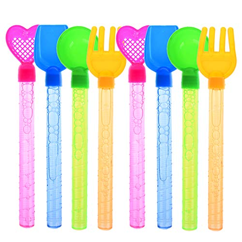 12 Pack Bubble Wands, 8 Inches Non Toxic Bulk Bubble Beach Tool Shaped Handle, Summer Outdoor Beach Toys Toddler, Kids Party Favor Birthday Gift -