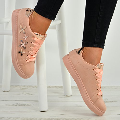 Cucu Fashion New Womens Lace Up Flower Trainers Ladies Studded Plimsoll Sneaker Shoes Size UK Pink 1wRbjjy