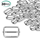 #7: Alcoon 30 Pieces Slide Buckle 1 inch Metal Triglide Slides Rectangle Adjustable Webbing Slider for Fasteners, Strap, Backpack DIY Accessories