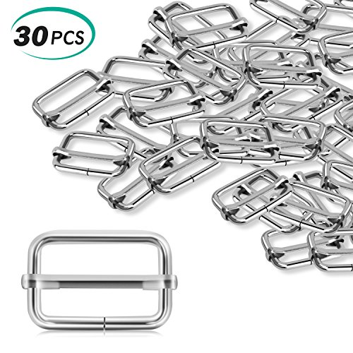 Alcoon 30 Pieces Slide Buckle 1 inch Metal Triglide Slides Rectangle Adjustable Webbing Slider for Fasteners, Strap, Backpack DIY (Adjustable Sliders)