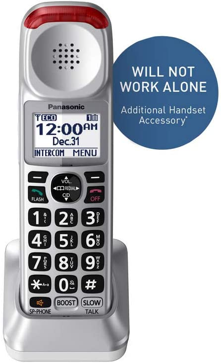 Panasonic New DECT 6.0 Cordless Phone Handset Accessory Talking Caller ID Compatible with KX-TGM450S Series Cordless Phone Systems - KX-TGMA45S (Silver)