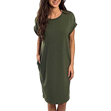 63feb9a968e Clearance Sale! ZTY66 Women s Summer Casual Loose Pocket Long Dress Short  Sleeve Maxi Dresses (