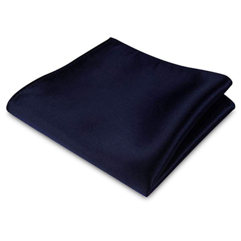 qsbai Men's Satin Solid Plain Color Handkerchief Hanky Pocket Square for Wedding Party - Navy Blue