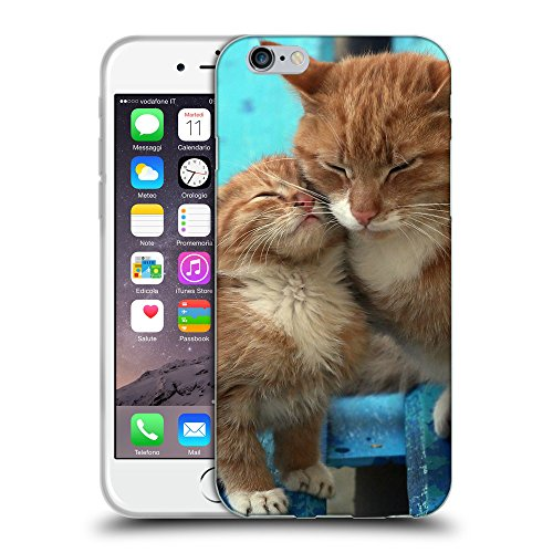 """Just Phone Cases Coque de Protection TPU Silicone Case pour // V00004244 Ginger chat embrasse son chaton // Apple iPhone 6 4.7"""""""