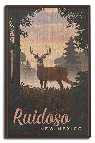 (Lantern Press Ruidoso, New Mexico - Deer and Sunrise (10x15 Wood Wall Sign, Wall Decor Ready to Hang))