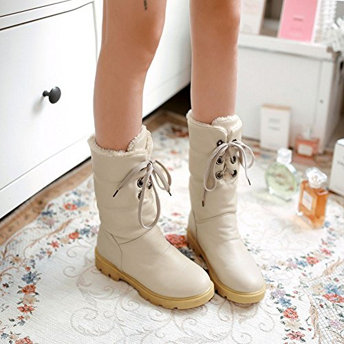 Warterproof Women Ankle COOLCEPT Dress Boots Casual High Winter Beige Warm Lining 1xzxw