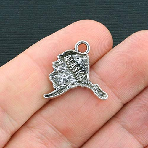 - 6 Alaska Charms Antique Silver Tone State of Alaska Jewerly Making Supply Bracelet DIY Crafting by Easy to be happy!