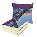 iPrint Quilt Dual-Use Pillow Winter Majestic Winter Sunrise Landscape and Ski Resort Spruce Pine Forest French Alps Multifunctional Air-Conditioning Quilt