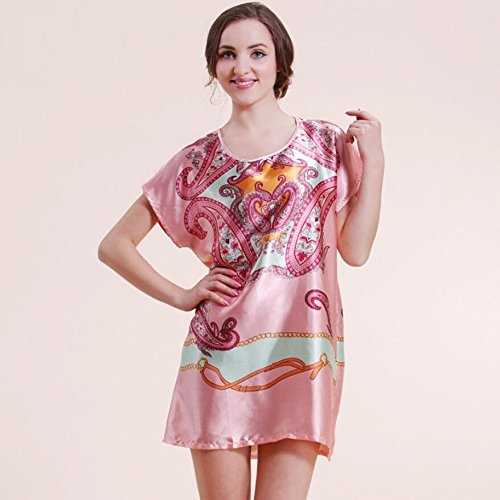 LJ&L La Sra casa de verano de ocio sueltos pijamas camisón de manga corta falda de baño atractivo sección delgada,A2,one size C7