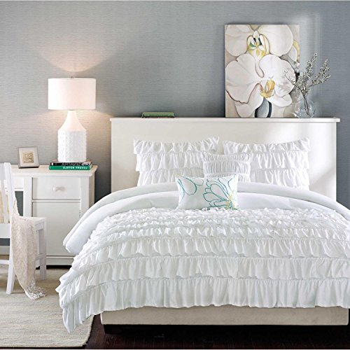 4pc White Ruffled Stripes Pattern Comforter Twin/Twin XL Set, Girls, Neutral Solid Color, Chic Flowing Ruffles Lines Design, Classic French Country, Luxury Modern (French Country Set Bed)