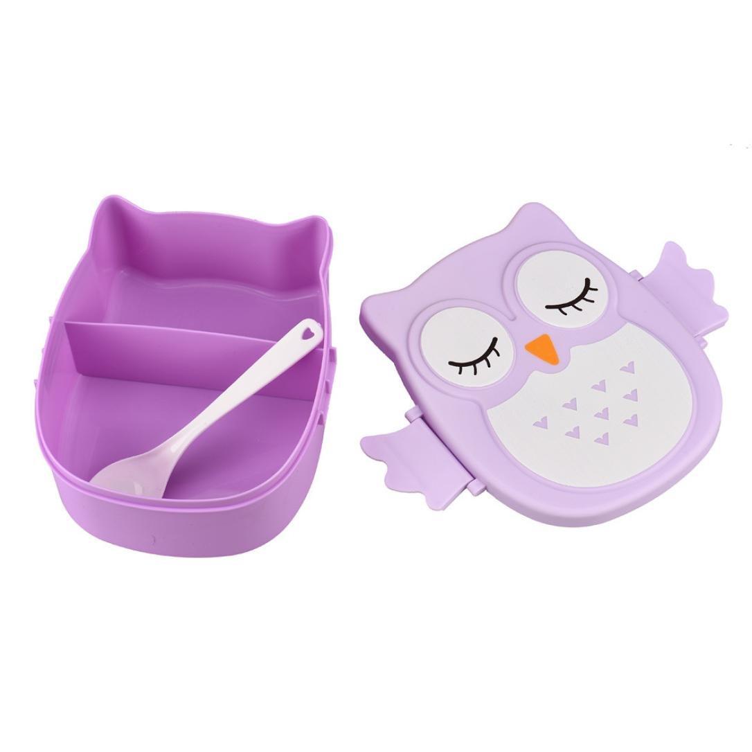 DDLBiz/® bambini ragazzo ragazza gufo pranzo scatola contenitore di alimento box di stoccaggio bento box portatile blu