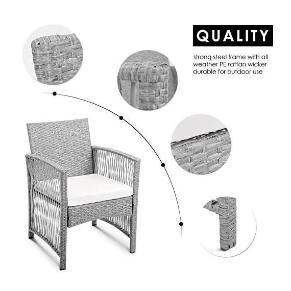 Merax Patio Conversation Set Outdoor Garden Lawn Pool Rattan Sofa Wicker Furniture Set Coffee Table Bistro Sets with Weather Resistant Cushions (Grey) - ✨Durable PE Rattan: This rattan outdoor patio set manufactured from hardy PE rattan and that is water proof and coated with a UV resistant coating, increasing the longevity for years of use. ✨Sturdy Steel Frame: Each piece of this outdoor furniture is meticulously constructed from powder coated steel, offering stability and build quality. ✨Modern Design: Sleek, elegant lines give this sofa set a unique, hollow look while also being breathable and comfortable, transforming your back garden into a relaxtion zone. - patio-furniture, patio, conversation-sets - 51cjTEDnclL. SS570  -