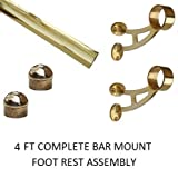 "2"" OD Brass Bar Mount Foot Rail Kit - 4 ft"