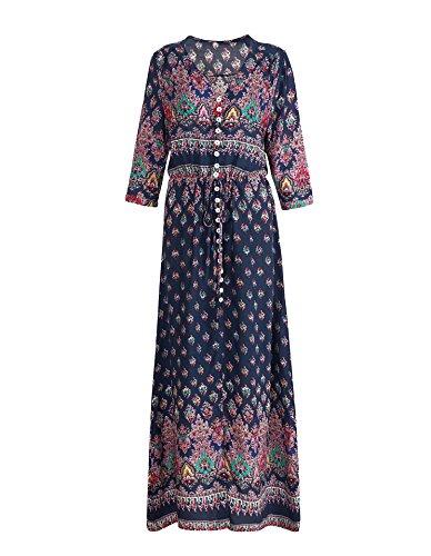 Donna Vintage Boemia Vestito a manica lunga Estate Stampato Floreali Lungo Maxi Abiti Abito Da Spiaggia Partito Sapp Blu3