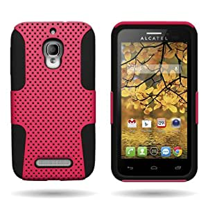 CoverON® Hybrid Dual Layer Mesh Case for Alcatel One Touch Fierce - Hot Pink Hard Black Soft Silicone