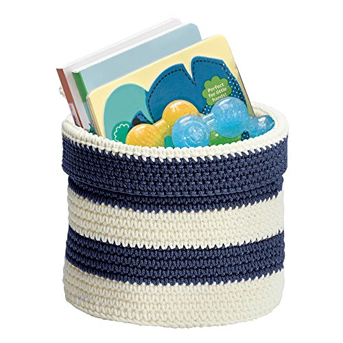 mDesign Hand Knit Round Toy Storage Organizer Basket Bin for Baby, Toddler, Kids Bedrooms, Playrooms, Nurseries – Perfect for Changing Table - Folds Flat for Compact Storage - Navy/White (Crocheted Baskets)