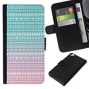 Planetar® Modelo colorido cuero carpeta tirón caso cubierta piel Holster Funda protección Para HTC Desire 820 ( Native Teal Pink Folk Subtle )