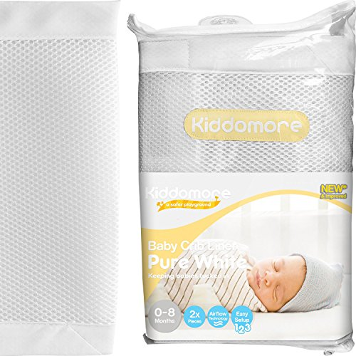 premium-pure-white-baby-mesh-crib-liner-for-all-cribs-breathable-airflow-rail-cover-and-bumper-best-