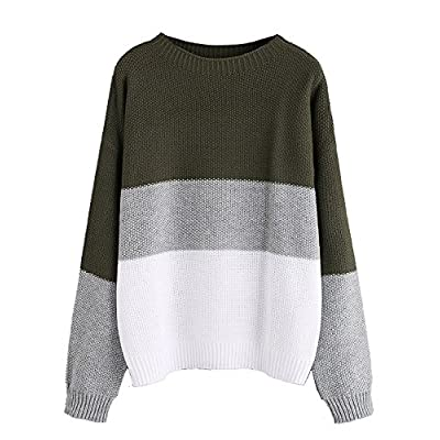 Milumia Women's Drop Shoulder Knitted Color Block Textured Jumper Casual Sweater at Women's Clothing store
