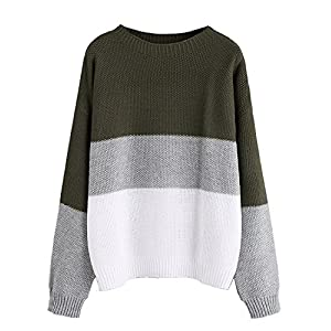 Milumia Women's Drop Shoulder Colorblock Textured Jumper Casual Sweater