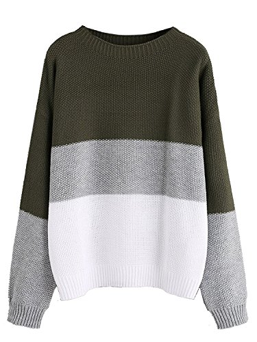 (Milumia Women's Drop Shoulder Color Block Textured Jumper Casual Sweater (Medium, Green))