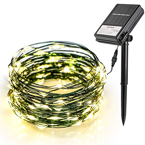 - Koopower Solar & Battery Powered String Lights, 36ft 100 LED Copper Wire Lights, Starry String Lights for Gardens, Home, Dancing (8 Modes, Dimmable, Waterproof, Warm White)